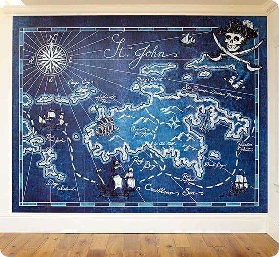 pirate map mural