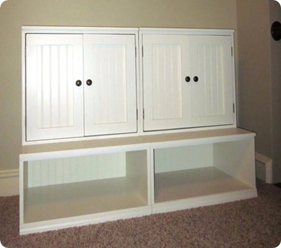 playroom cubby storage with hutch