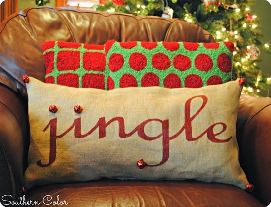 pottery barn inspired jingle pillow