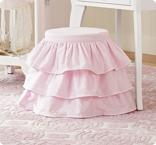 Play Vanity Stool With Gathered Slipcover