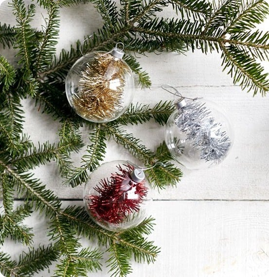 tinsel filled glass ornaments