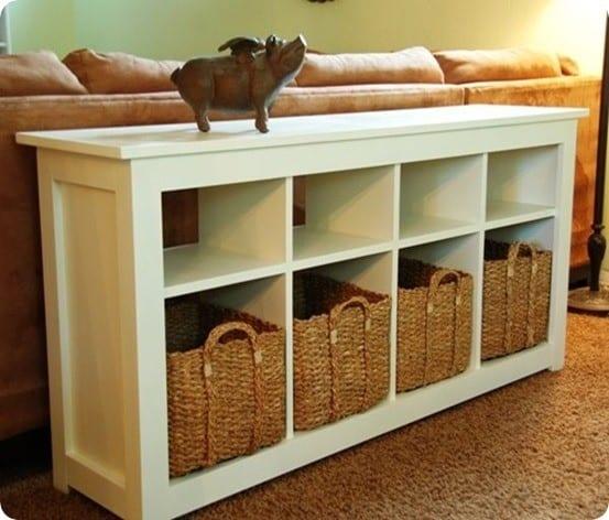 white storage sofa table