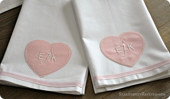 Pottery Barn Inspired Monogrammed Valentine's day heart towel DIY