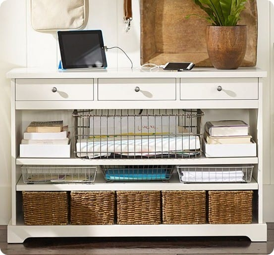Foyer Storage Console Table : Entryway storage console that has it all