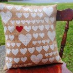 Stenciled Heart Burlap Pillow Cover