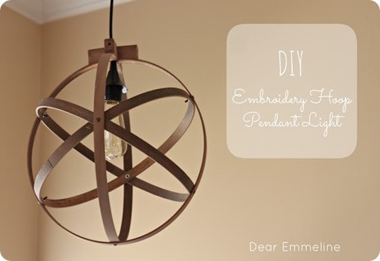 diy embroidery hoop pendant light