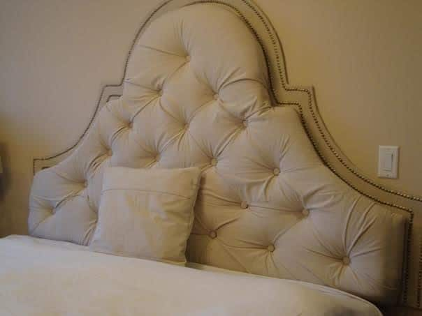 High-Arch Tufted Headboard with Nailhead Trim