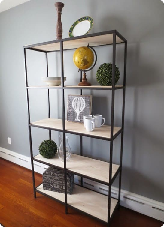 diy wood and metal shelf