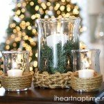Rope-Wrapped Hurricane Candle Holders