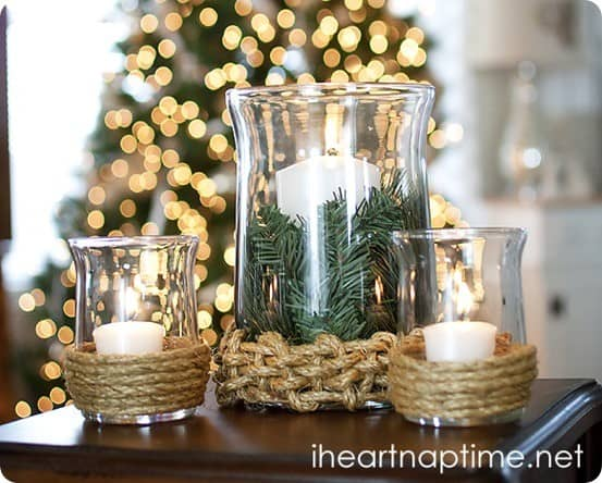 Rope Wrapped Hurricane Candle Holders Knockoffdecor Com