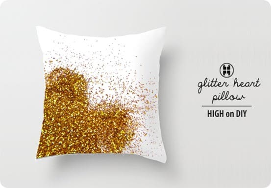 glitter heart valentines pillow