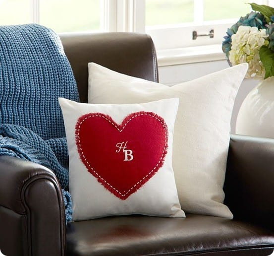 heart applique pillow cover