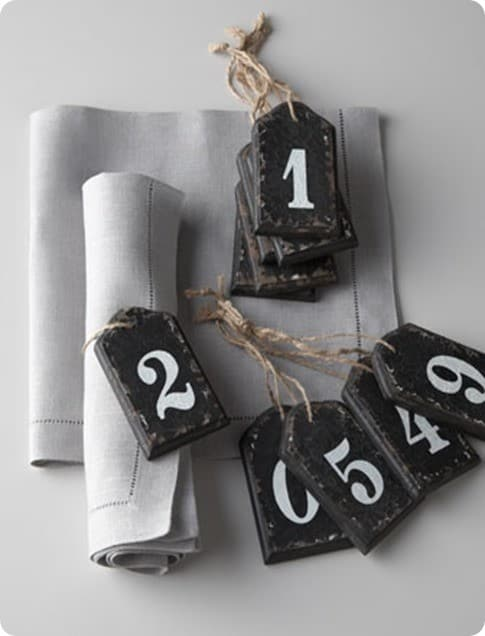 horchow wooden number tags