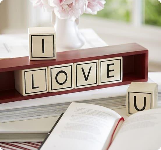 i love you wood blocks