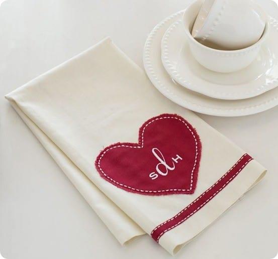 heart monogram valentine u2019s towels
