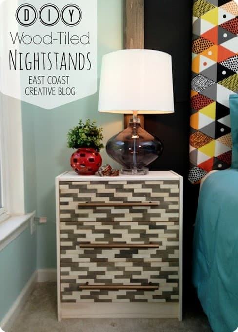 wood tiled nightstands