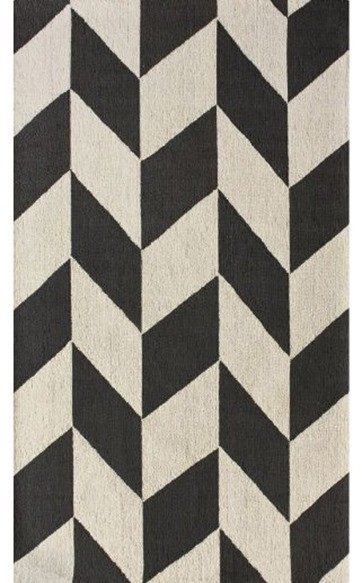 Contemporary 5' x 8' Charcoal Hand Hooked Area Rug