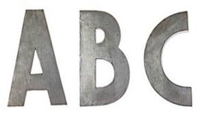 anthropologie zinc letters
