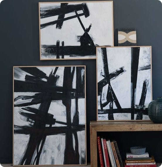 black and white abstract art from west elm