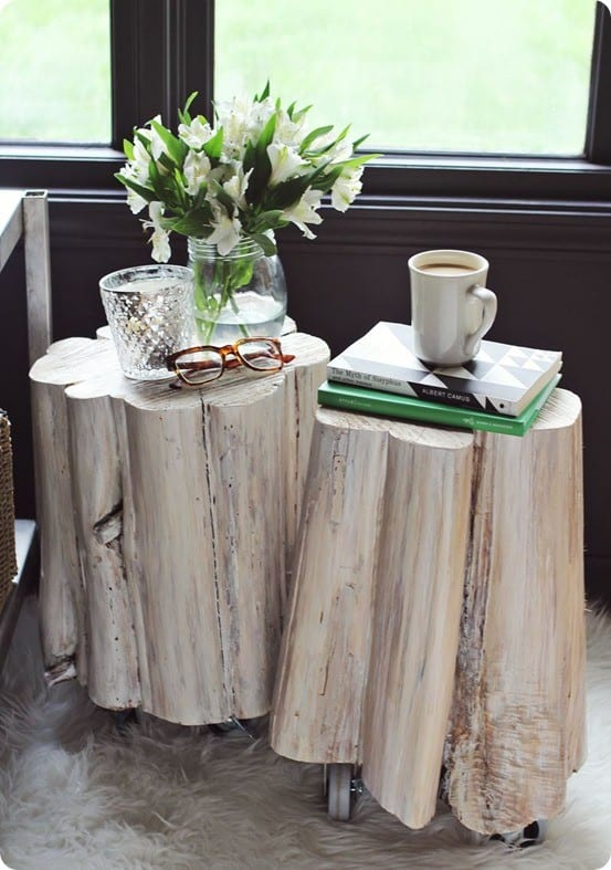 Best diy tree stump side tables