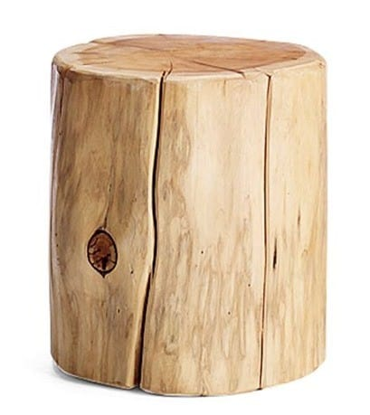 Amazing natural tree stump side table from west elm