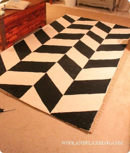 painted herringbone rug