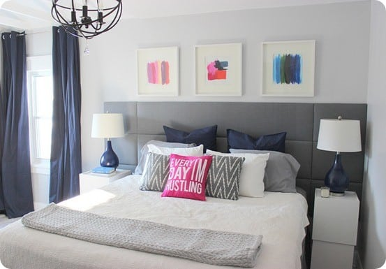 upholstered panel headboard focal wall