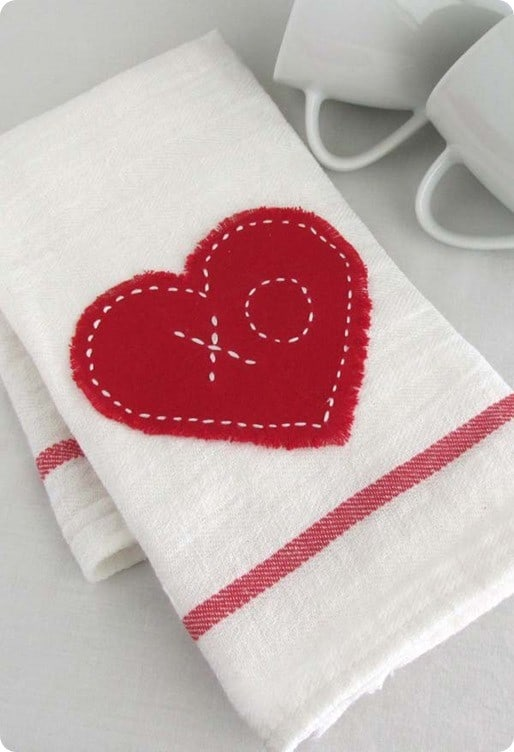 valentines heart tea towel