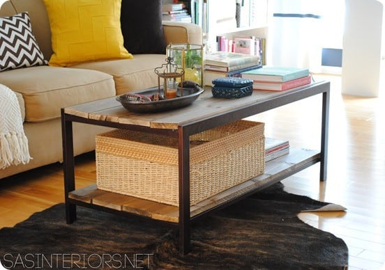 wood and metal industrial coffee table
