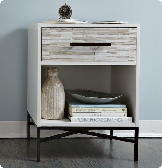 wood tiled nightstand from west elm