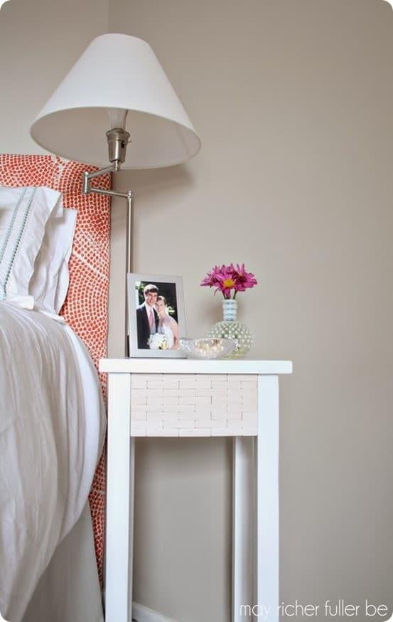 wood tiled nightstand