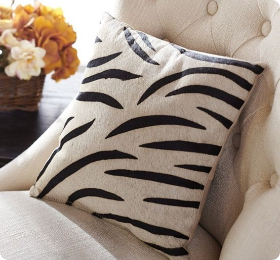 zebra printed hide pillow