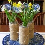 Welcome Spring with Burlap Wrapped Vases