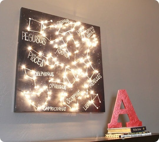 constellation wall art with lights