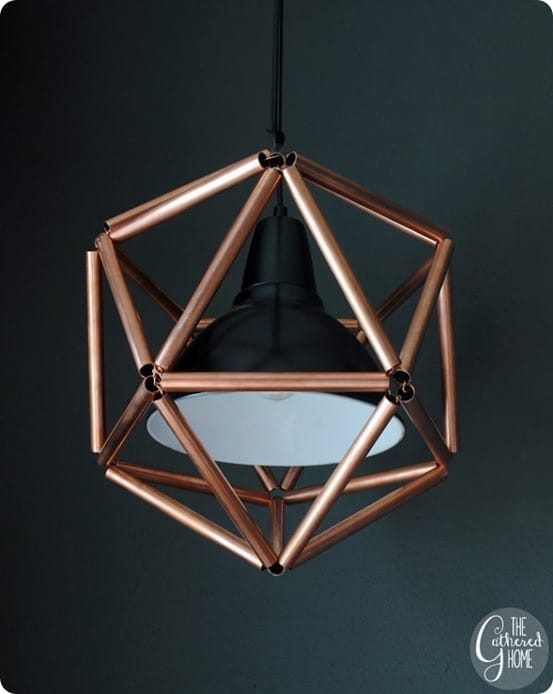 copper pipe icosahedron light