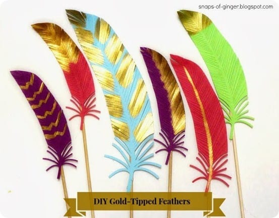 diy gold tipped feathers