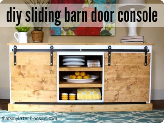diy sliding barn door console