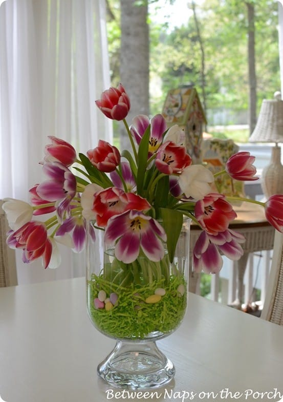 easter tulip arrangement with double vase