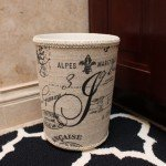 Fabric-Covered Garbage Can with Monogram