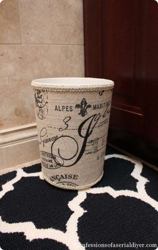 fabric covered garbage can with monogram