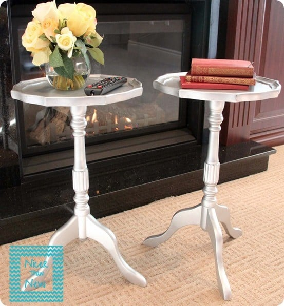 faux metal pedestal side tables