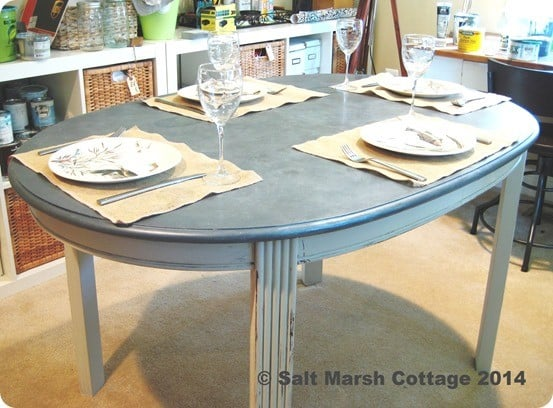 faux zinc top table
