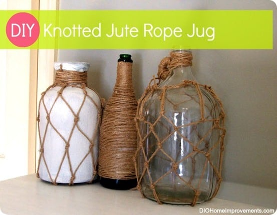 knotted jute rope jug