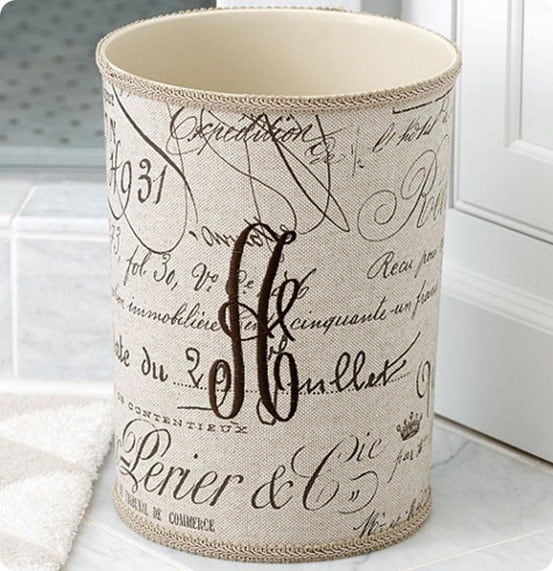 monogrammed fabric waste basket