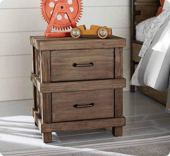 masculine camp style nightstand for a boy s room. Black Bedroom Furniture Sets. Home Design Ideas