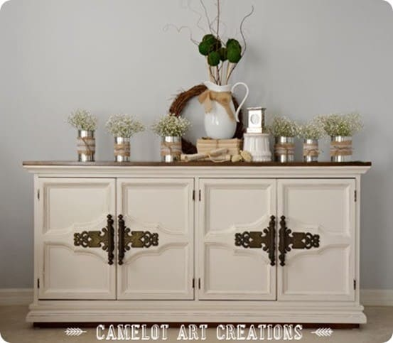 paint and stain buffet makeover