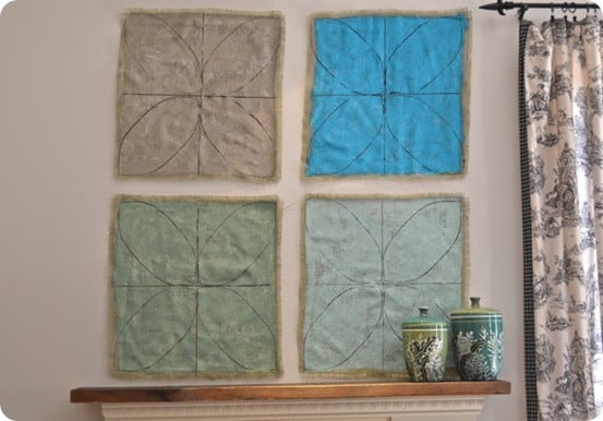 painted burlap wall decor