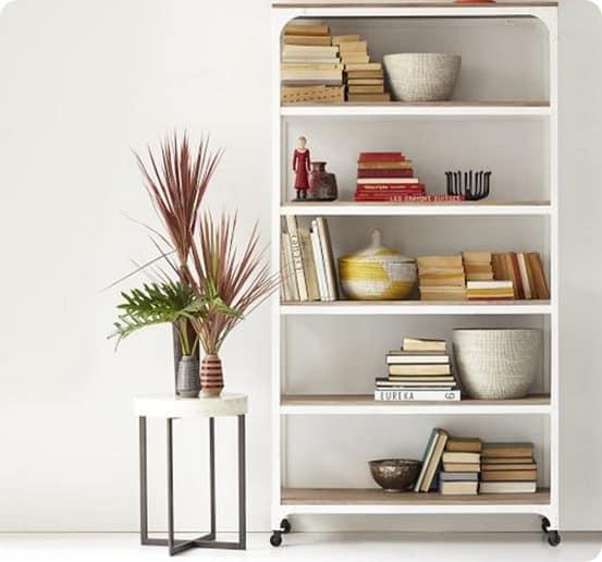 whitewashed wood and metal shelf