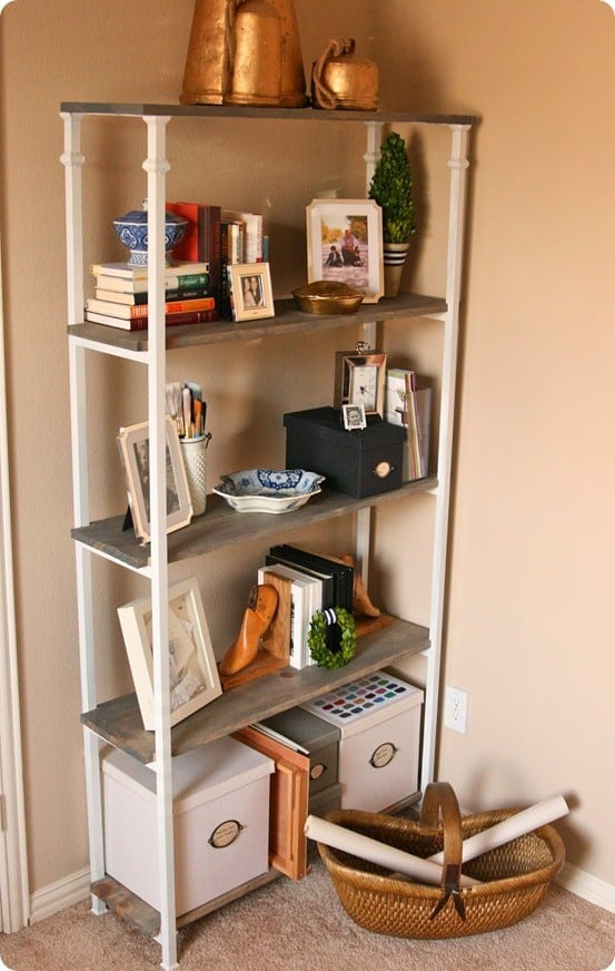 wood and metal bookshelf