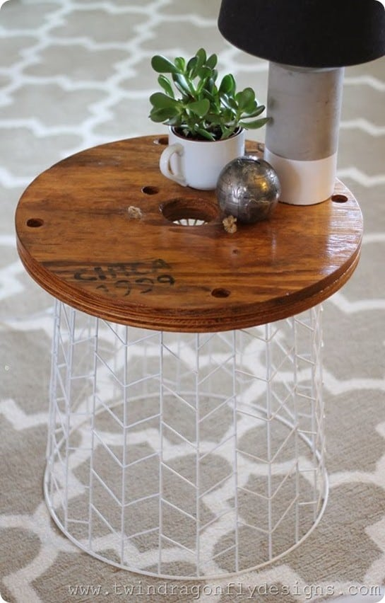 wood and wire accent table